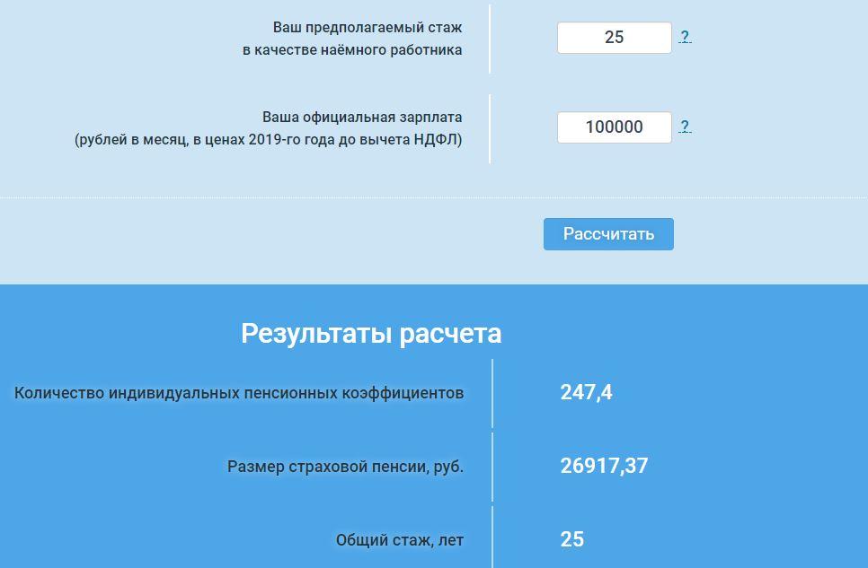 Размер пенсии для 35 летнего мужчины с зарплатой 100.000 рублей