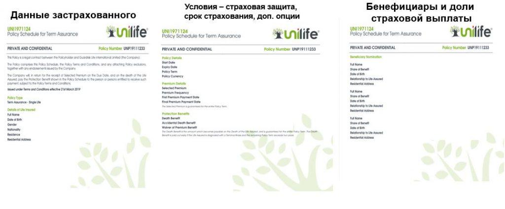 Как выглядит полис страхования жизни компании Unilife