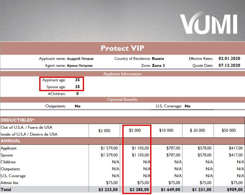Сколько стоит полис Vumi для семейной пары