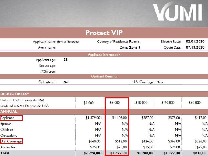 Стоимость полиса Protect VIP для 35-летней женщины + покрытие в США