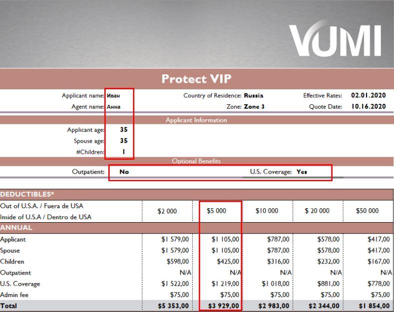 Проект полиса Международного медицинского страхования Protect VIP от VUMI